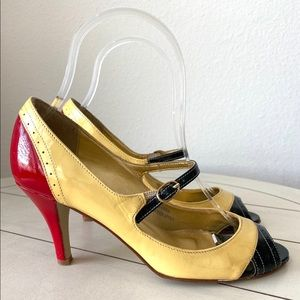 J.Crew Made In Italy Color Block Peep Toe Heels